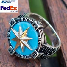 Turkish Handmade  925 Sterling Silver Mens Solid Turquoise Compass Ring All Size