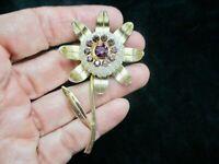 Vintage 1950's Faux Pearl & Purple Rhinestone Flower Brooch/Pin