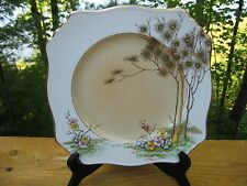 VINTAGE ROYAL WINTON ART DECO GILDED SQUARE LUNCHEON PLATE ASCOT SHAPE c 1938