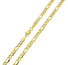 14K Real Yellow Gold 3.5mm Figaro 3+1 Hollow Chain Necklace - 18 Inches