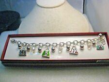 "Silver Enameled Purse Charm Bracelet, New In Box, 7"""