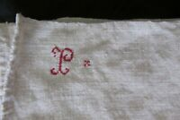 Lge Antique French Chanvre Handloomed Natural Linen Torchon Towel c1840 #13