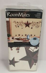 RoomMates STARS & BERRIES WALL DECALS Country Stickers Rustic Primitive Decor
