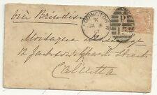 * 1877 PADDINGTON P15 DUPLEX 8d ORANGE SG156 CAT £625 ON COVER TO CALCUTTA INDIA