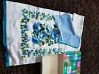 Vintage Cannon Embroidery Blue Floral Towel and Hand Towel, Wash Cloth Brand New
