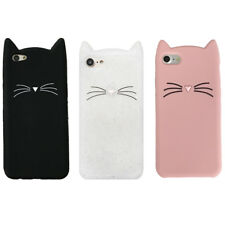 For iPhone & Samsung Galaxy 3D Case Cover Beard Cat Cute Cartoon Soft Silicone