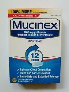 Mucinex Maximum Strength 1200mg guaifenesin 28 bi-layer tablets exp. 09/22