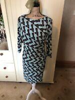 M&S Marks & Spencer Ladies Aqua Green Black Ruched Knee Length Dress Size 12 S