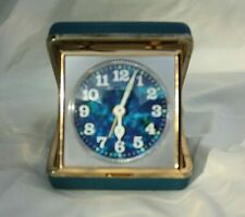 Vintage Bulova travel alarm wind up mid-century Japan Blue case blue multi color