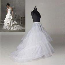 New One Size Women 2 hoops Wedding Gown Petticoat Crinoline Long Train Slips