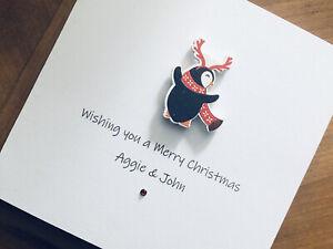Personalised Handmade Christmas Cards - Wooden Penguin 13.5cm X 13.5cm