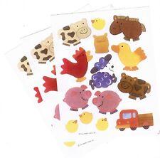 3 Sheets FARM Animals PIG Chicks COW Duck Hallmark Scrapbook Stickers!