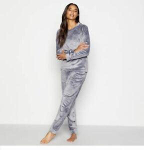 Ted Baker Women Embossed Twosie Grey Nightwear Set Size 8 New Fleece New Tag