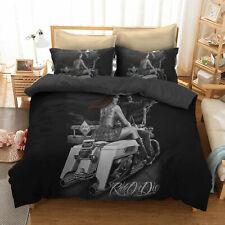 Skull Riding Motorcycle Sex Girl Bedding Set Duvet Cover Pillow Sham Quilt Cover