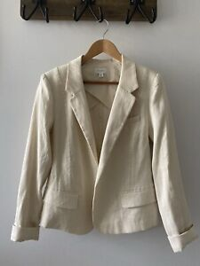 Witchery Cream Linen Jacket Blazer Size 12