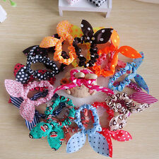 10pcs Lots Girls Rabbit Bunny Ear Ribbon Wire Headband Hair Tie Cute Head Bow