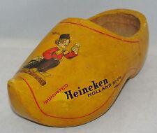 """HEINEKEN Beer Holland Vintage WOODEN SHOE Clog 9 1/2"""" Bar Advertizing Promotion"""