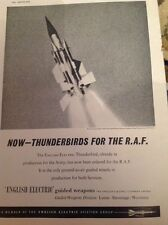 N1-3 Ephemera 1957 Advert Thunderbirds For The Raf English Electric