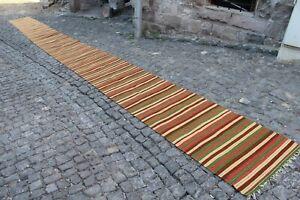"Extra Long Vintage Handmade Turkish Oushak Runner Kilim Rug 32'x2'4"""