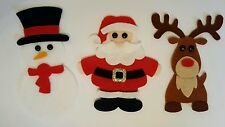 X3 Handmade Felt Christmas Embellishments.Die cuts. Santa,Rudolph and a Snowman.