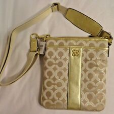 Gold Coach Logo Purse wear as Shoulder or Crossbody New Fast Free Shipping