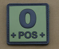"PVC / Rubber Patch ""Blood type 0 POS + OD"" with VELCRO® brand hook"