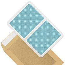 2 x Rectangle Stickers 10cm - Blue White Dotty Pattern Polka Dots #44402
