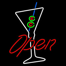 """New Martini Open Beer Pub Bar Real Glass Neon Light Sign 24""""x20"""""""