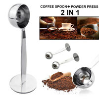 2 IN 1 STAINLESS STEEL ESPRESSO COFFEE TAMPER MEASURING SPOON SCOOP &STAND FUNNY