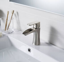Waterfall Bathroom Faucets Vessel Brushed Nickel One Hole/Handle Mixer Taps