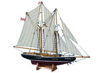 "Bluenose 17"" - Wooden Model Yacht - Sailboat Centerpiece - Nautical Gift"