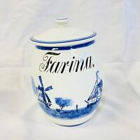 Vintage Antique Windmill Delft Ceramic Farina Canister G.M.T & Bro 8809 Germany.