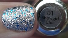 NEW SALLY HANSEN Nail Polish GEM CRUSH in SHOWGIRL CHIC #01 Silver Blue Glitter