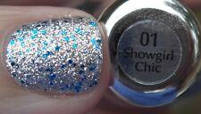 NEW SALLY HANSEN Nail Polish GEM CRUSH in SHOWGIRL CHIC #01 Silver Blue Glitter