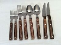 Stainless Flatware Riveted Wood Handles Knives Forks Spoons 8 pieces