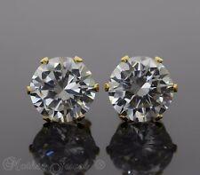 10MM ROUND SIMULATED DIAMOND 14K YELLOW GOLD IP STUD MENS WOMENS GIRLS EARRINGS