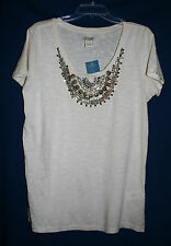 Lucky Brand Women's XL Top Ivory with Gold Embellishment Short Sleeve NWT