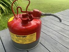 Safe-T-Way Gas Fuel Container Can Quick Release 2.5 Gallon flex Spout Used Nfpa