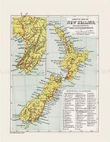 MAP REPRO ANTIQUE CRAWFORD SKETCH NEW ZEALAND LARGE ART PRINT LF887