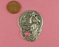 """ANTIQUE SILVER PLATED BRASS 4 ARTS """"MUSIC"""" MUCHA STYLE MAIDEN - 1 PC(s)"""