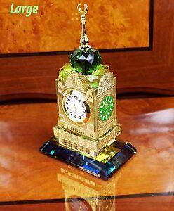 Crystal Cut Mecca Makkah Clock Tower Allah Mosque Ramadan Islamic Gift Box