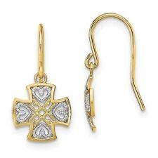Fancy Dangle Wire Earrings In Real 14k Yellow Two Tone Gold 19 mm x 10 mm 0.87gr
