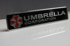 Umbrella Corporation Auto Emblem Aufkleber Badge Aluminium - schwarz rechteckig
