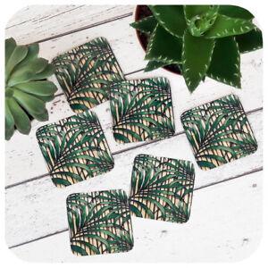 Tiki Bamboo Coaster set (6), Palm Leaf Print Coasters, Tropical Home Decor