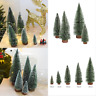 5pcs Christmas Snow Mini Tree Holiday Festival Party Ornament Decor Miniature Lw
