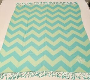Pottery Barn Teen Knit Fringed Chevron Throw Blanket Pink Green Lime Embroidered