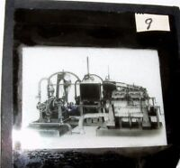 VINTAGE MAGIC LANTERN SLIDE OF STEAM ENGINE? MACHINERY MECHANICAL STEAMPUNK