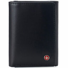 Alpine Swiss Mens Trifold Wallet RFID Blocking Genuine Leather Bifold ID Window