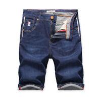New Men's Cotton Denim Shorts Straight Slim Jeans Casual Pants Short Summer