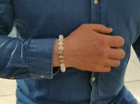 Howlite & Sterling Silver Bead Bracelet-Mens Beaded Bracelet-Classic 925 Silver